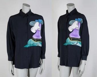 SALE Vintage 90s Blouse / 1990s Black Silk Picasso Print Loose Fit Blouse M