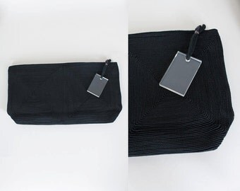 Vintage 40s Purse / 1940s Minimalist Black Cord Clutch Bag with Lucite Pull