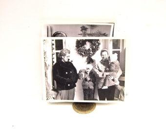 1940s 8x10 Black and White Photo, Vintage Family Mid Century Photos, Holiday Black White Photo