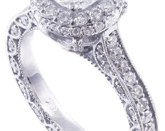 18k white gold round cut diamond engagement ring eternity deco antique 1.50ct