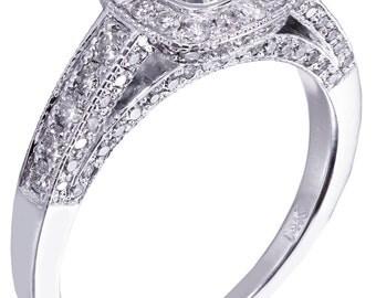 14k white gold cushion cut diamond engagement ring bezel set art deco 1.70ctw