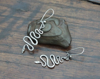 Silver Snake Earrings, individually hand forged asymmetric Sterling Silver drop earrings