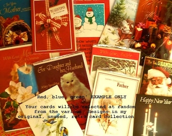 10 x 'Lucky Dip' original and *unused* 70s/80s CHRISTMAS CARDS to send or to use in crafting