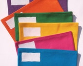 Fabric Cash Envelopes Solid SIX Envelopes for Paper Currency/6 Bright or Dark Colors