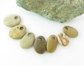 Colorful Beach Stones Top Drilled 7 pcs- Medium Smooth Beads, Flat Pebbles for Jewelry Design Supplies Unique Special Pendants