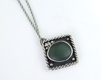Handmade OOAK Jewelry Sterling Silver with Green Beach Glass Necklace Special Original Design Perfect Gift