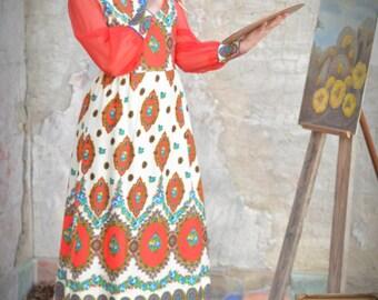 Vintage Boho Paisley Ethnic Border Print Sheer Maxi Dress