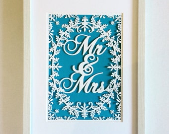Mr & Mrs  framed paper cut art