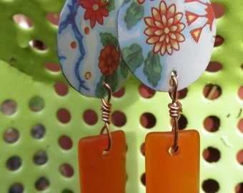Upcycled Vintage Tin and Recycled Glass Dangle Earrings in Oranges
