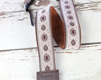 Tan Medallion Leather and Suede Camera Strap