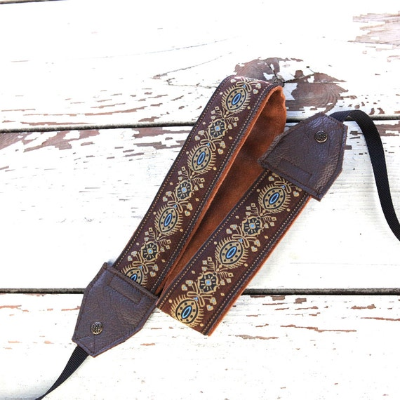 Brown Fleurish Leather and Suede Camera Strap