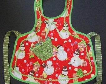 Little Girls Fancy Apron-Frosty the Snowman Fabric Bib Apron-Size 7-10 Ready to ship