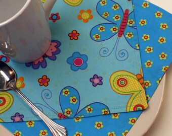 BOGO sale on now! Butterflies & Flowers Lunchbox Kid's Cloth Napkins  // Set of 2