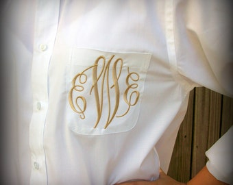Monogrammed Button Down shirt, Bride or Bridesmaid, Wedding day party cover up