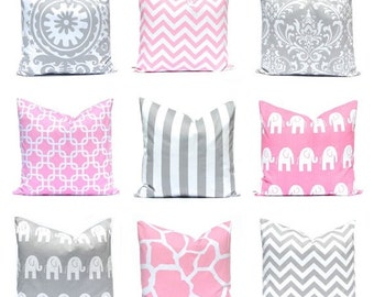 Euro Sham - Pillow Covers - Pink and Gray Nursery Pillows - Pink Pillow Covers - Gray Pillow Covers - Pink Chevron Pillow Covers - On White
