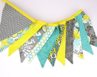 READY to SHIP! Fabric Bunting, Banner, Pennant, Flag, Garland, Photo Prop, Decoration, Yellow, Gray, Turquoise, Hummingbird, Floral