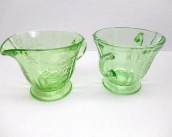 Vintage Madrid Green Glass Cream and Sugar Set