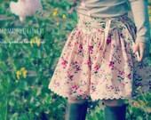 Mem Rose Skirt Ainslee Fox Boutique Patterns - shaped yoke, bias binding casing back, size 2-12, side tying sash, two length options
