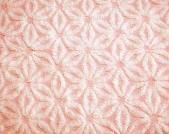 24 x 18 Inches - Pretty Pink and Fluffy White Daisy Hofmann Vintage Chenille Bedspread Fabric Piece