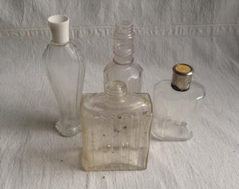 Vintage glass bottles  medicine bottles  perfume bottles