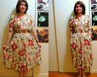M Vintage 80s Long Yellow Floral Dress