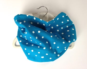 Neck Warmer, Tube Scarf:  Cerulean with White Dots