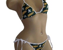 Oakland A's Bikini - By Sexy Crushes - Custom Made Top and Scrunch Bottom