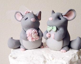 Chinchilla Love custom wedding cake topper handmade