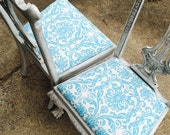 Vintage Chippendale Style Chairs Distressed Finish New Upholstery Turquoise