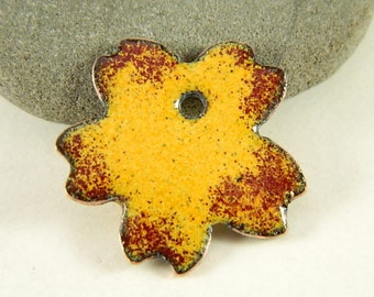 Red and Orange Enameled Flower Pendant