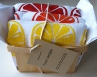 Gift of Fruit Slices screen printed kitchen towel set of three in orange, lemon and grapefruit(or any 3 images) in berry basket