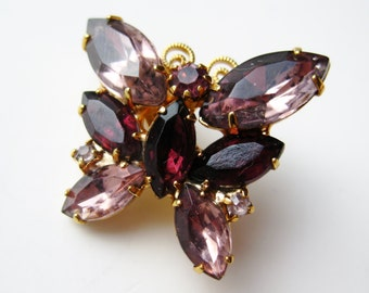 Vintage 50s Purple Rhinestone Jeweled Gold Butterfly Brooch Pin
