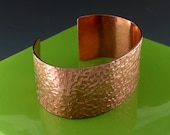 Handmade Copper Cuff Bracelet with Hammered Square Texture