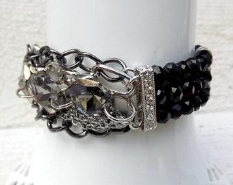 Chunky chain bracelet, layered chain bracelet, stretch bracelet, statement jewelry, as seen on The Voice, rhinestone bracelet, black beaded
