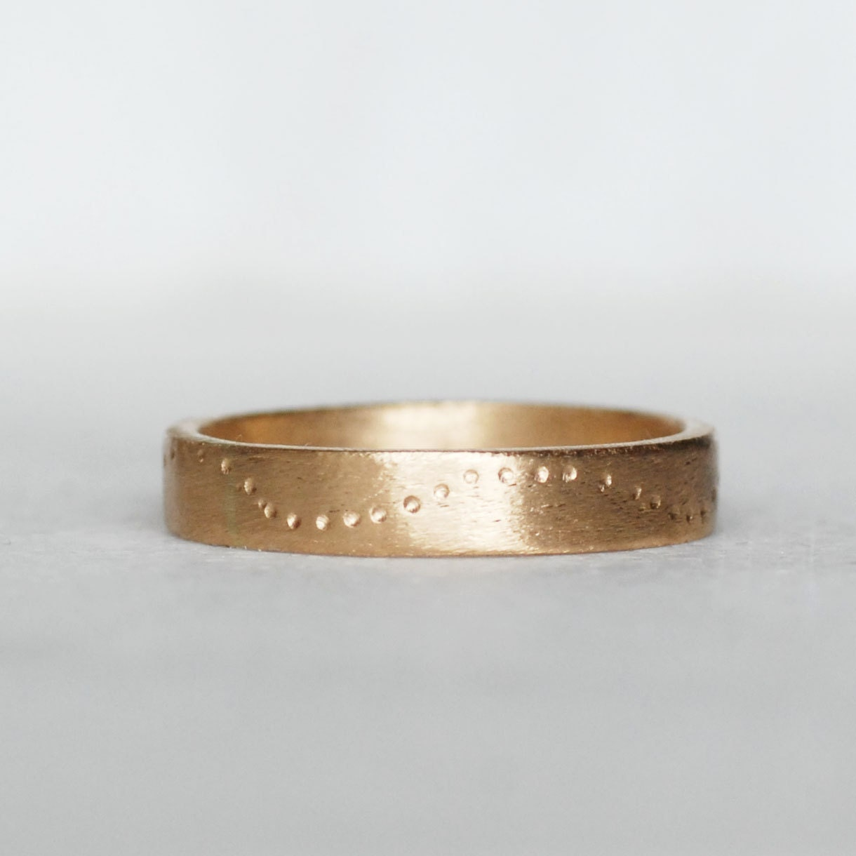 wide gold wedding band 4mm 14k gold trail ring thick gold
