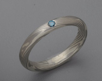 PD500/Sterling Silver Mokume Gane Ring with 3mm Blue Diamond