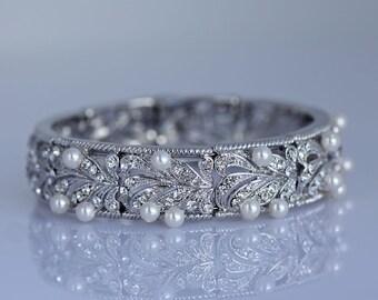 Crystal Bridal Bracelet, Wedding Cuff, Vintage Style Wedding Jewelry, Bridal Jewelry, Bridesmaids  Bracelet. EDITH