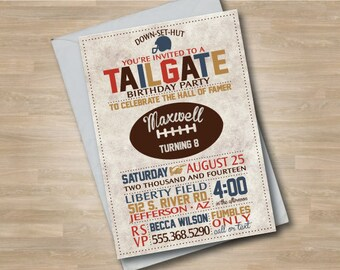 Football Invitation, Football Invite, Sports Birthday, Vintage Style