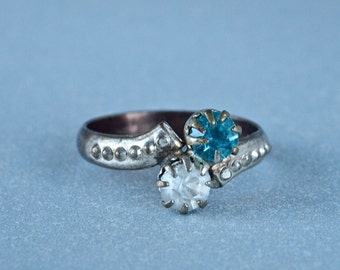 Art Deco Costume Ring Aqua and Clear Paste Stone Flapper Silver Plate Size Small