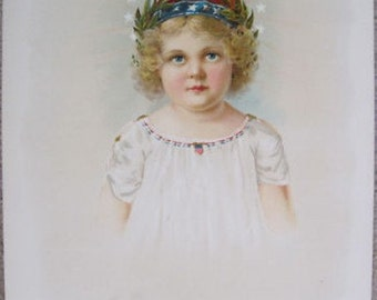 1902 Antique Little Miss Liberty Stone Litho Patriotic Curly Blond Girl