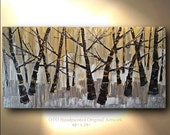 Custom Size Griege Art Birch tree Aspen Abstract Hand crafted Art painting Birch tree Large Modern Painting by OTO