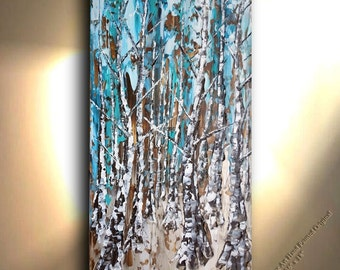 36 x 18 Landscape Art, Abstract Aspen Art, Tree art, Textured landscape, Canvas Art, Forest Art, Oil, Abstract, Painting, Art Piece, OTO
