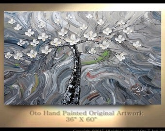 """Grey Abstract Tree Painting 36"""" x 60"""" Tree Flowers Art Gift White Flowers Greens Large Canvas Hand Painted Oil Painting Dogwood painting OTO"""