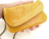 Yellow small bag, Cell phone case, leather hand purse, wallet purse, small wallet