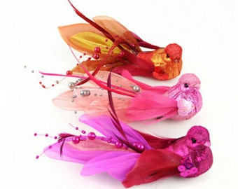 Artificial Glitter Bird Assortment with Feather Tail on Clip - Craft Embellishment - Home Decor