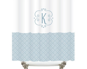 Monogram Standard Tub Shower Curtain - Greek Key  - Pick your color