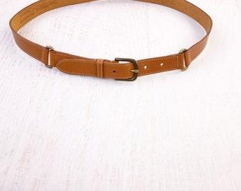 VINTAGE English Leather Belt Tan XL Large