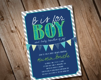 DIY Printable B is for Boy Baby Shower Invitation