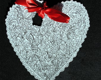 One of a Kind black and white doodle hearts. Black marker on Cardstock, romantic, unique, heart, doodle, love,