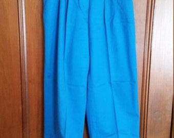 SALE Vintage Jones Wear Turquoise Pants Elastic Waist Marked Size 10 Ladies Pants